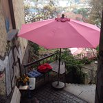 "Tiny terrace at a tiny café. ""Die Pause"" in Marburg."