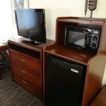 Television, microwave, good size refrigerator and free wifi!