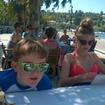 At one of the Tavernas on Avlaki beach