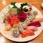 The sushi and sushimi combo served with miso soup and salad.  It was excellent!! Yum yum.