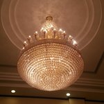 The chandelier in the lobby