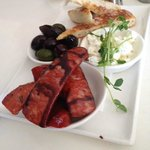 Grilled chorizo and bread plate