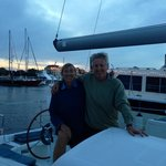 """Paul and Mary Joan aboard their """"new"""" Benneteau yacht. We had a blast together."""