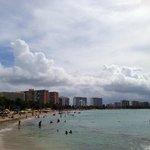 public beach next to hotel