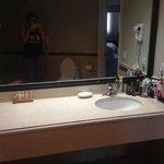 Bathroom, sink, hairdryer, amenities