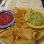 Chips and Salsa with Side of Guacamole