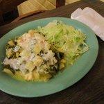 Calabacitas (vegetarian squash dish) with flour tortilla