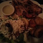 Grilled chicken with greek salad (dressing on side requested)