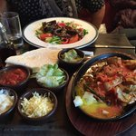 Chicken Fajitas and Sticky beef salad