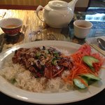 Grilled Pork with sauce over rice