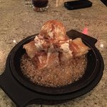 Awesome dessert! Custard and coconut in phyllo pastry flambé!