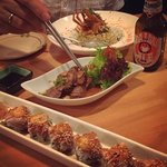 sake bomb maki and beef with fried rice