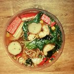 Seafood chilli raman noodle soup bowl
