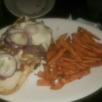 Philly steak sandwich and sweet potato fries