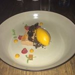 Mango sorbet with nougat and berries