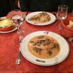 Poulet de bresse sauce crème aux morilles : vraiment excellent !