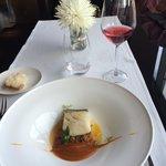 Prato principal, bacalhau com vinho rose