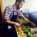 Our owner & chef Caleb serving up FRESHNESS!
