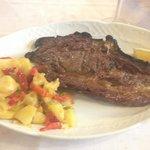 T-bone steak with potatoes al pobre.