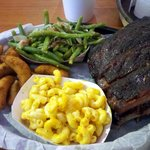 Ribs, mac'n'cheese, green beans, and hush puppies.