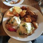 Salmon Eggs Benedict with Leek Fondue