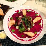 Beets carpaccio with goat cheese