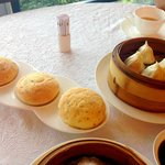 Almond paste bun (so good!!) Xiu-long-bao (Soup dumpling)