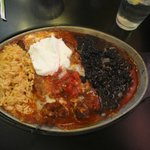 Delicious chile rellanos in red chile with black beans