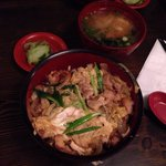 Oyako-Don (chicken, onion, shiitake, and egg with brown rice), pickled cucumbers, and miso soup