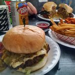 Hatch green chile & double bacon cheeseburger