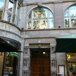 Hidden entrance door between two bars/restaurants