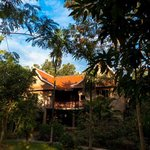The brand new tiled roof on the Main House, inspired by traditional Khmer roofing