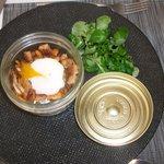 Superbe et savoureuse cassolette de champignons et œuf poché, un délice!