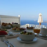 Breakfast in our private villa, amazing!