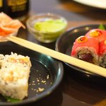 A variety of vegetarian and non-vegetarian sushi to choose from