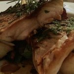 Mackerel with sauteed potatoes, pancetta & garlic