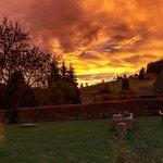Sonnenaufgang am Hotel Breggers/Schwanen