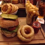 Pork & chorizo burger. Onion rings yum!