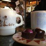 Hot chocolate and a Mocha with raspberry and margarita truffles. Mmmmmmmmmmmmm