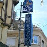 Street sign for Cafe Leffe.
