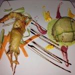 Antipasto: sufflè di pesce con funghi e gamberone in Pastella