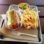 Hot dog, chili, fries