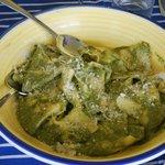 Ravioli with fresh pesto - that we made that day