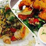 Macadamia crusted fish and prawn and crab pasta