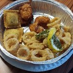 Appetizer Combo: toasted ravioli, calamari, fried shrimp, and stuffed mushrooms (other photo)