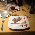 Dessert - Apple tart with cream and ice cream.
