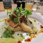 Fillets of Sea Bass and Salmon on a bed of Celeriac mash. Ah-mazing!