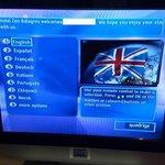 Mensaje de bienvenida en el televisor