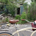 Bike in front of demolished house in Lower 9th Ward
