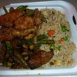 Fried rice, Shanghai Angus steak, Honey sesame chicken breast